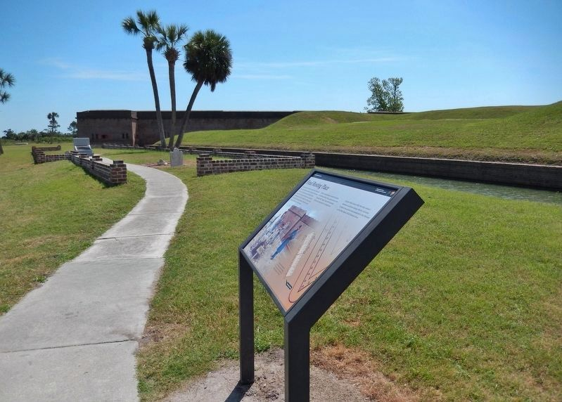 Final Resting Place Marker (<i>wide view • cemetery & north side of Fort Pulaski in backround</i>) image. Click for full size.