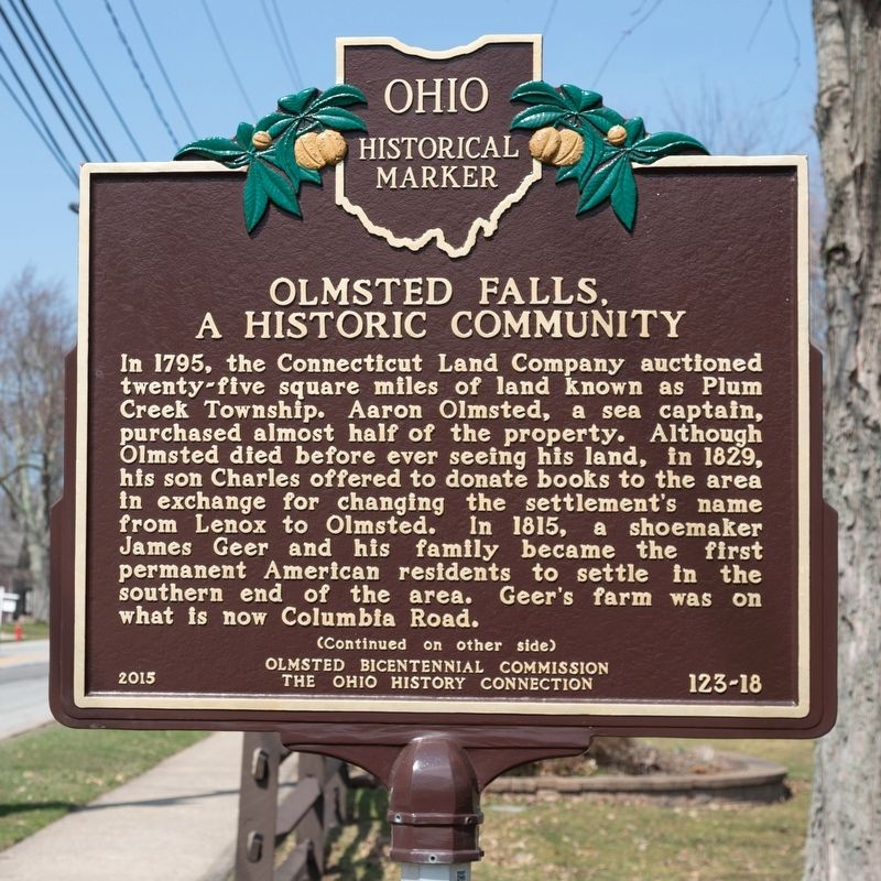 Olmsted Falls, A Historic Community Marker, side one image. Click for full size.