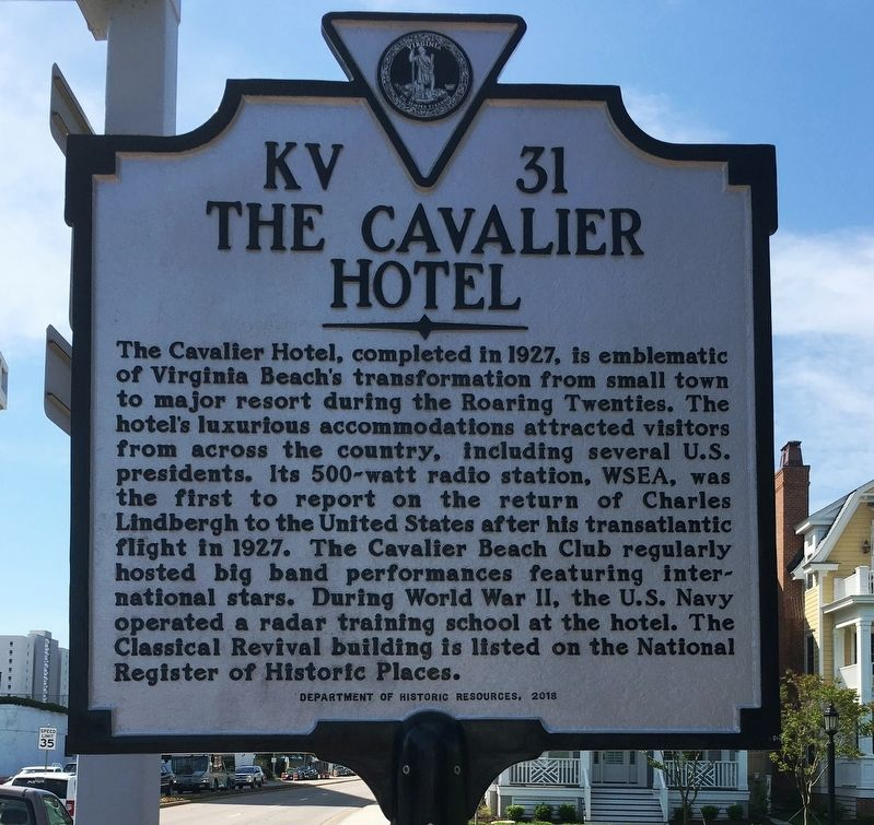 The Cavalier Hotel Marker image. Click for full size.