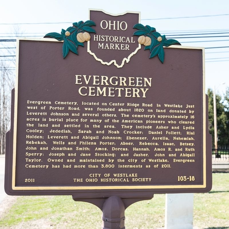 Evergreen Cemetery side of marker image. Click for full size.