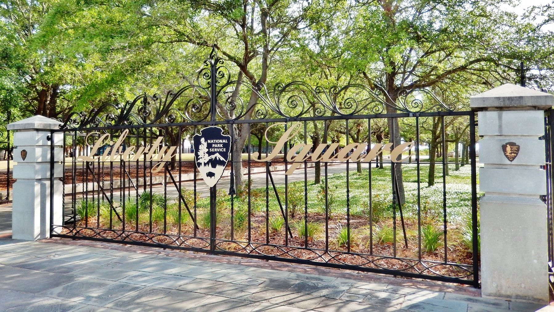 Liberty Square Gate • designed by Philip Simmons<br>(<i>located near marker</i>) image. Click for full size.
