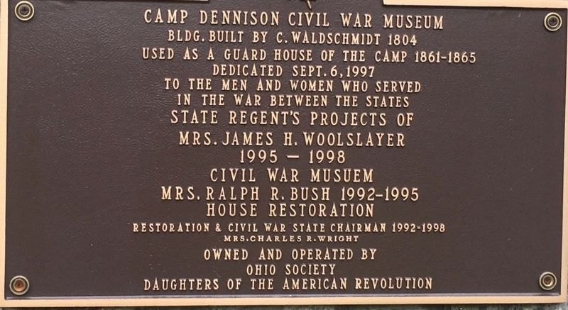Camp Dennison Civil War Museum Marker image. Click for full size.