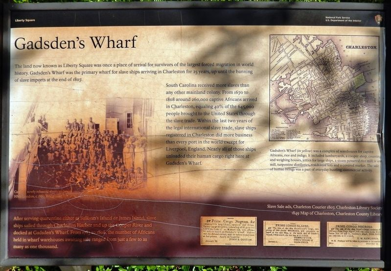 Gadsden's Wharf Marker image. Click for full size.