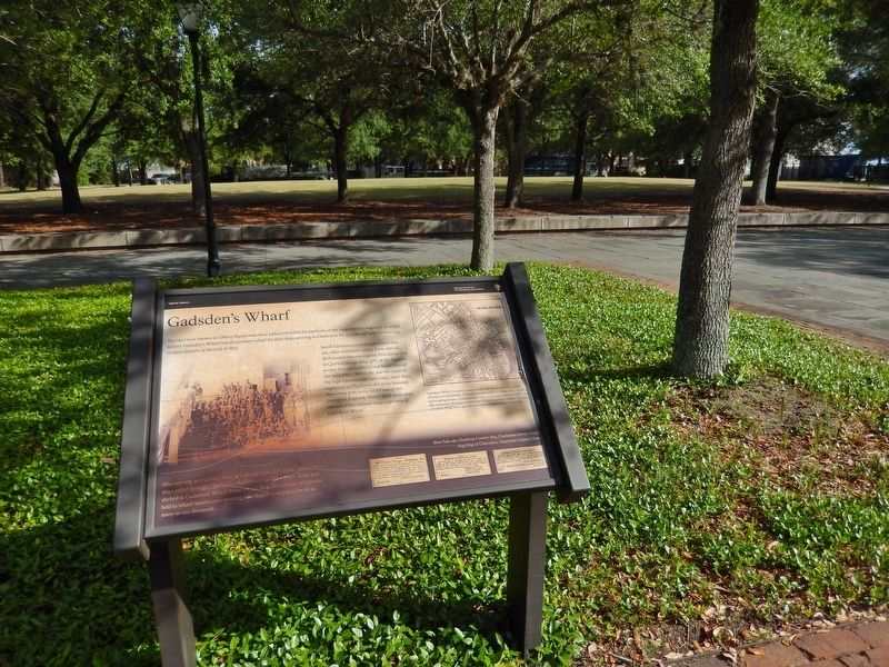 Gadsden's Wharf Marker (<i>wide view • Liberty Square park in background</i>) image. Click for full size.