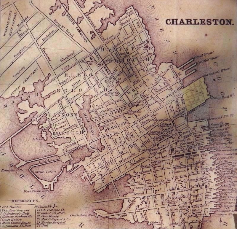 Marker detail: 1849 Map of Charleston image. Click for full size.