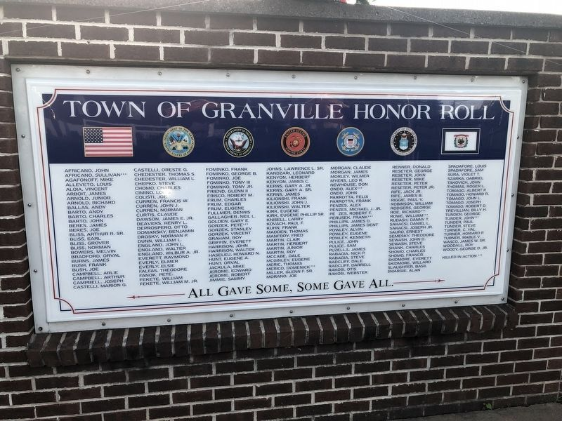 Town of Granville Honor Roll Marker image. Click for full size.