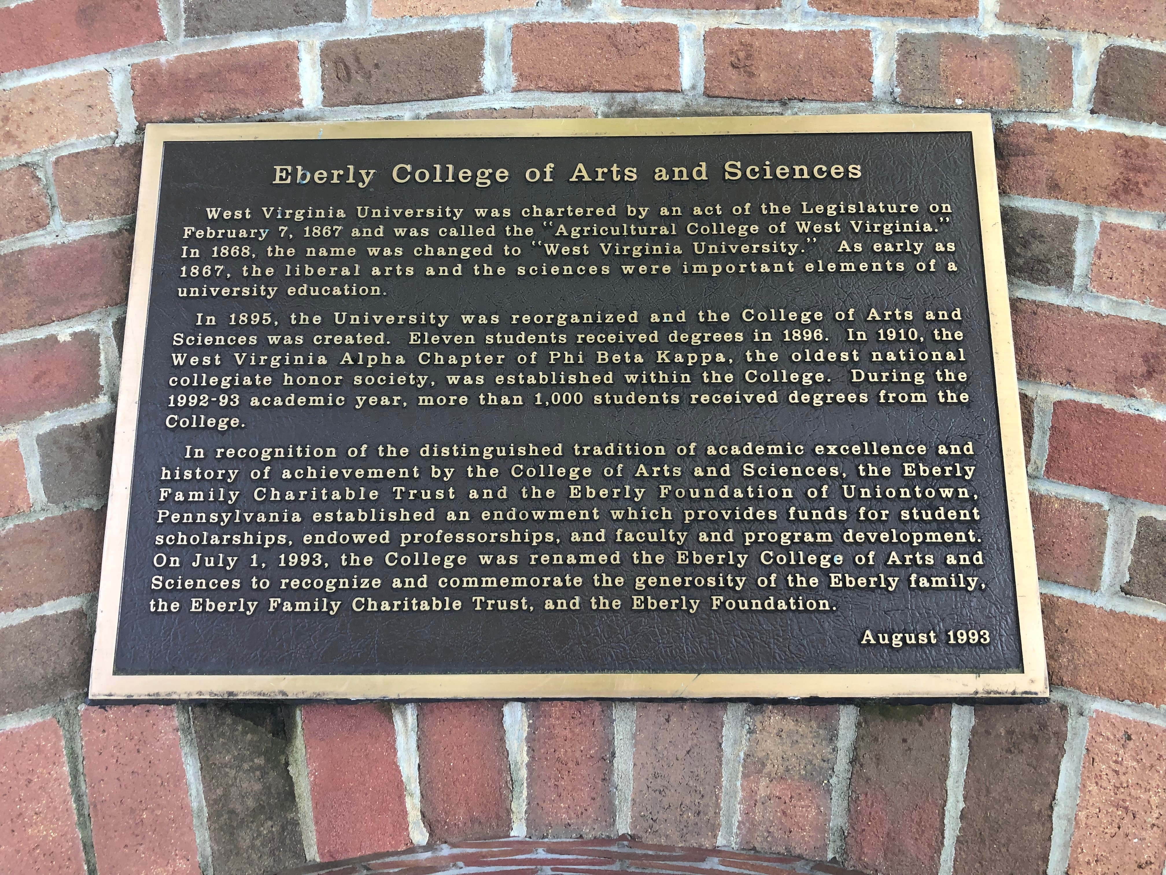 Eberly College of Arts and Sciences Marker