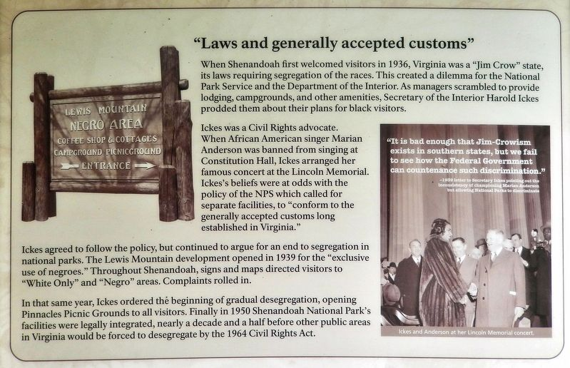 "Lewis Mountain Dilemma Marker<br>(<i>top panel • ""Laws and generally accepted customs""</i>) image. Click for full size."