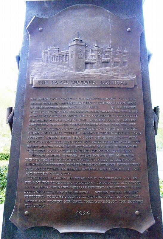 The Royal Victoria Hospital Marker on Pirrie Monument image. Click for full size.