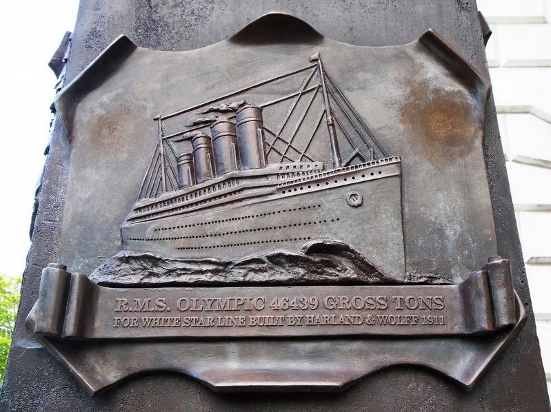 R.M.S. Olympic bas relief on Pirrie Monument image. Click for full size.