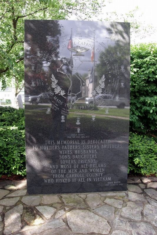 Carroll County Vietnam Veterans Memorial, center tablet image. Click for full size.