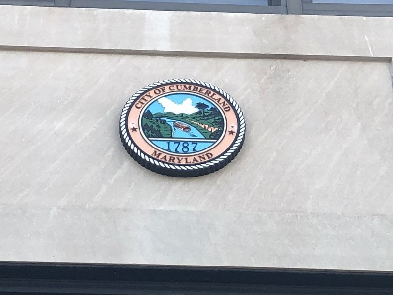 Seal of the City of Cumberland on the building image. Click for full size.