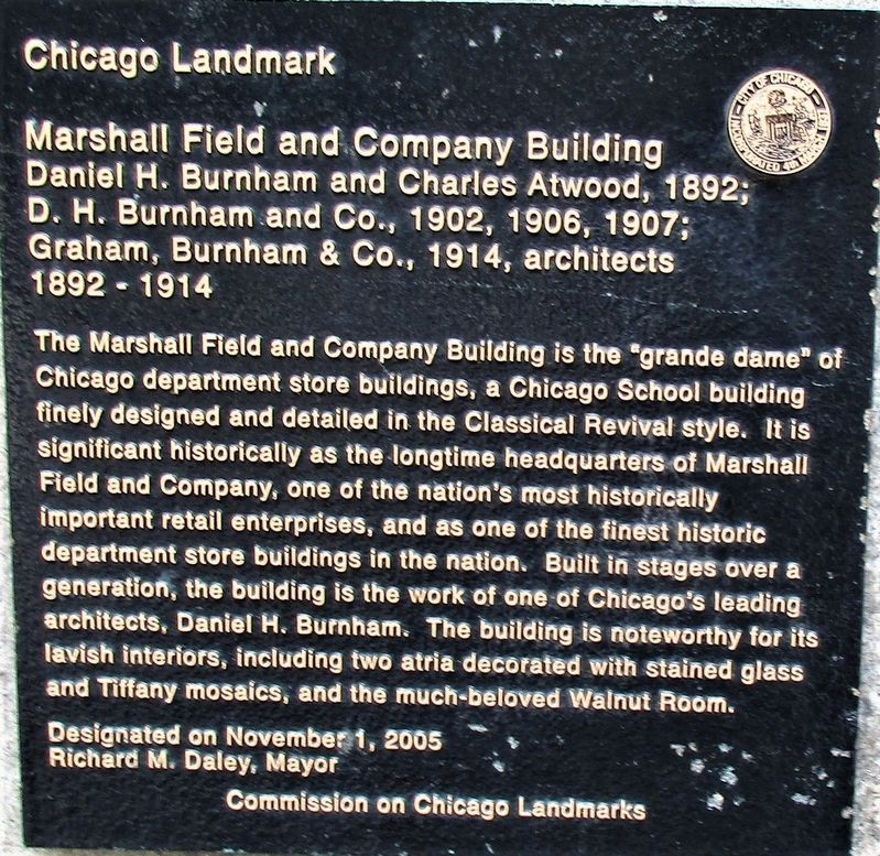 Marshall Field and Company Building Marker image. Click for full size.