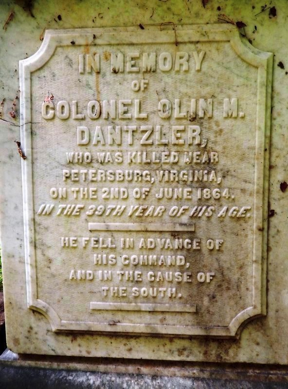 Lt. Col. Olin M. Dantzler<br>(<i>monument inscription</i>) image. Click for full size.
