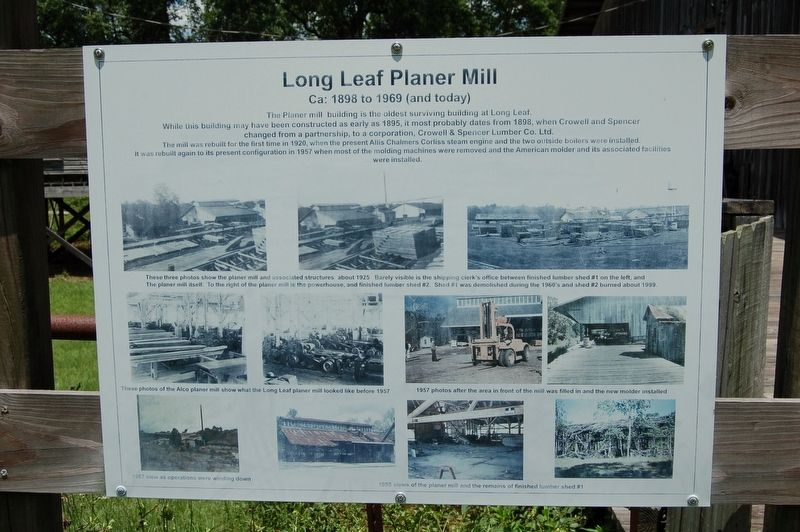 Long Leaf Planer Mill Marker image. Click for full size.