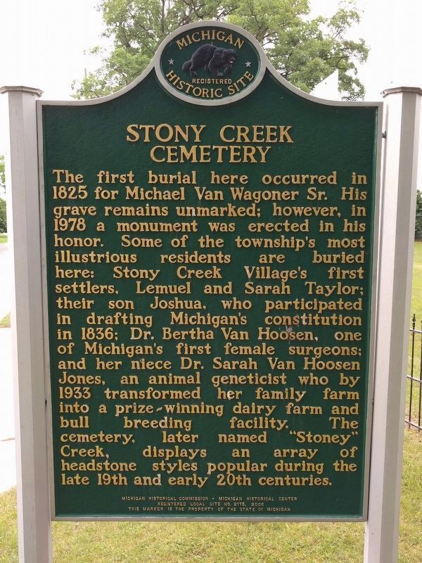 Stony Creek Cemetery Marker (side 1) image. Click for full size.
