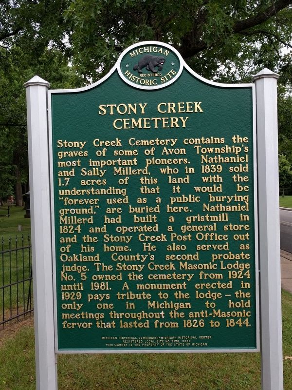 Stony Creek Cemetery Marker (side 2) image. Click for full size.