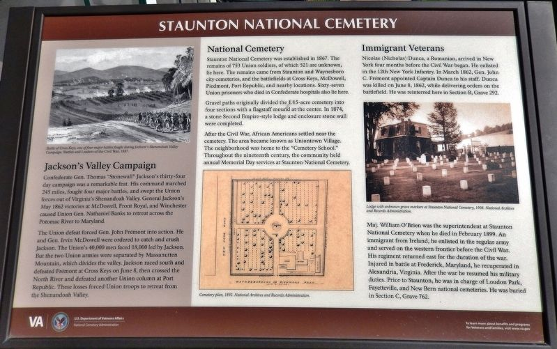 Staunton National Cemetery Marker image. Click for full size.