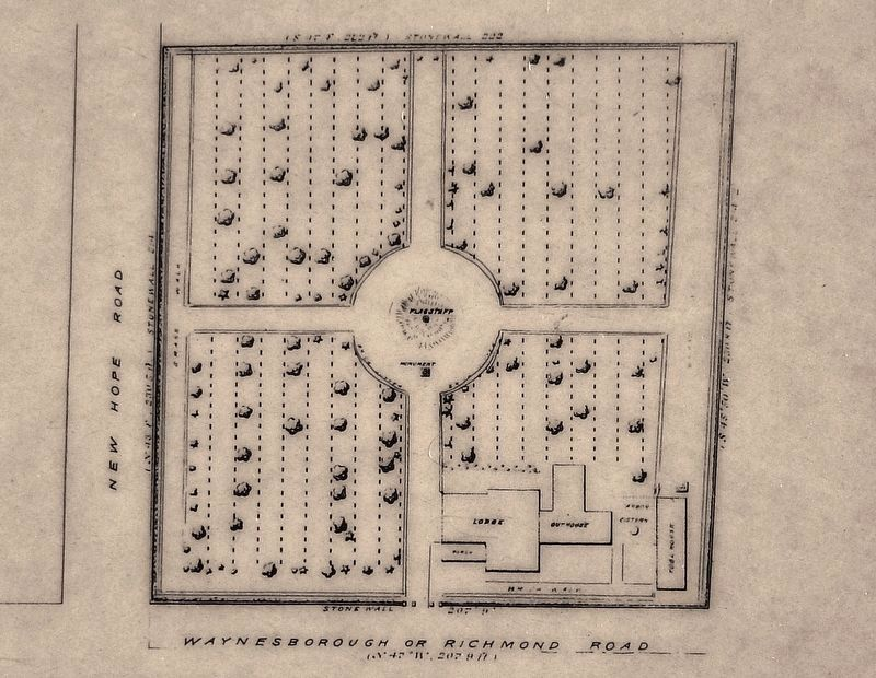 Marker detail: Cemetery Plan, 1892 image. Click for full size.