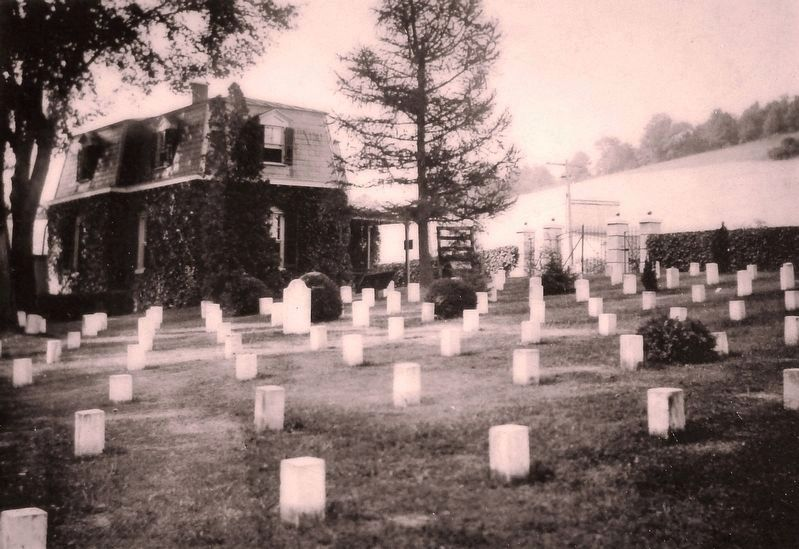 Marker detail: Lodge with unknown grave markers at Staunton National Cemetery, 1908 image. Click for full size.