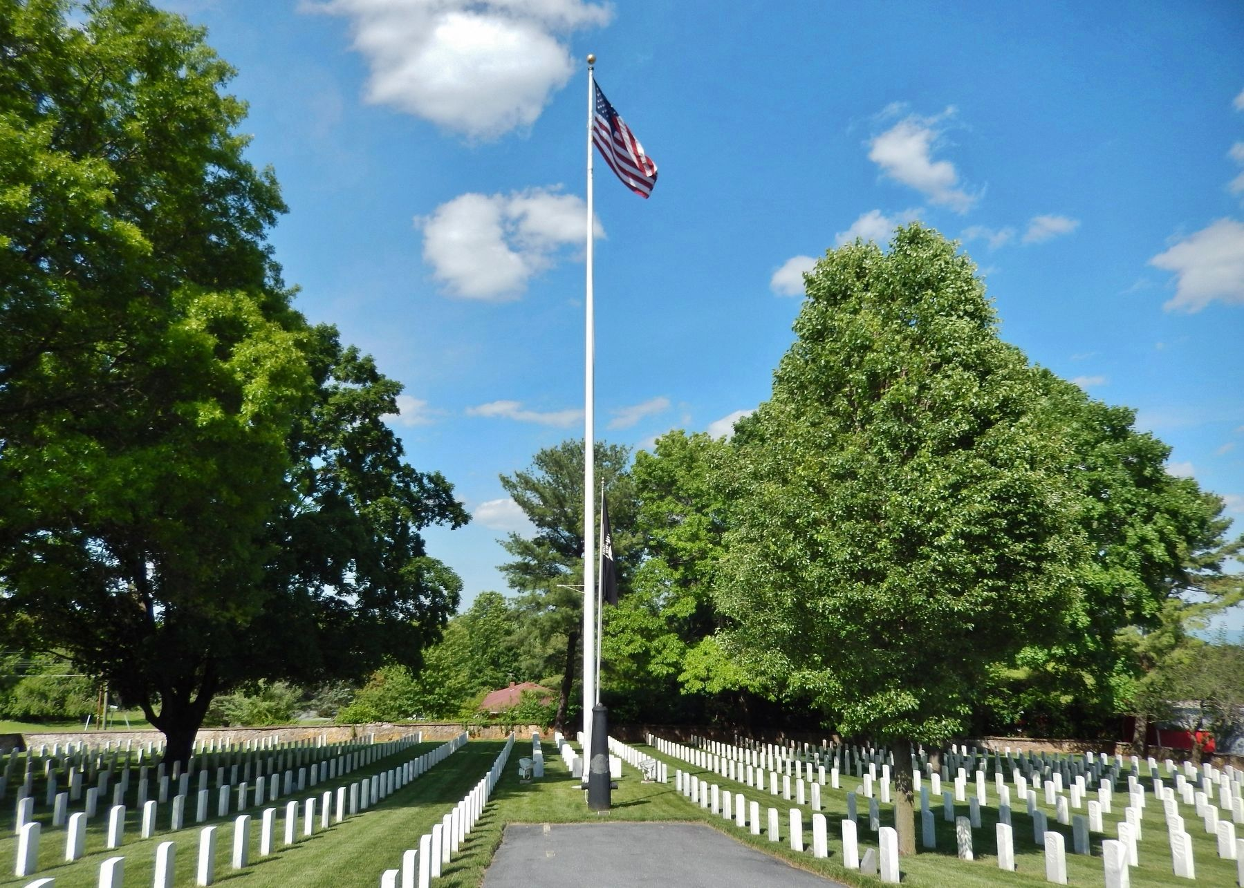 Staunton National Cemetery Flagstaff (<i>at center of cemetery • view from near marker</i>) image. Click for full size.