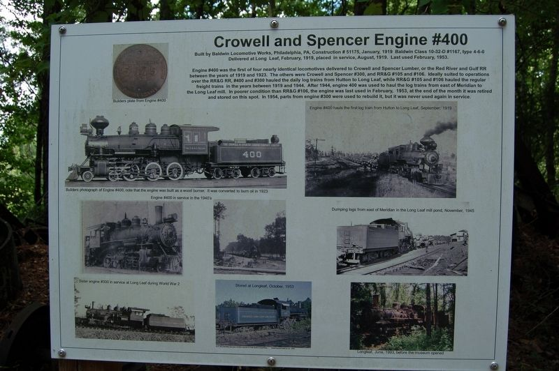 Crowell and Spencer Engine #400 Marker image. Click for full size.
