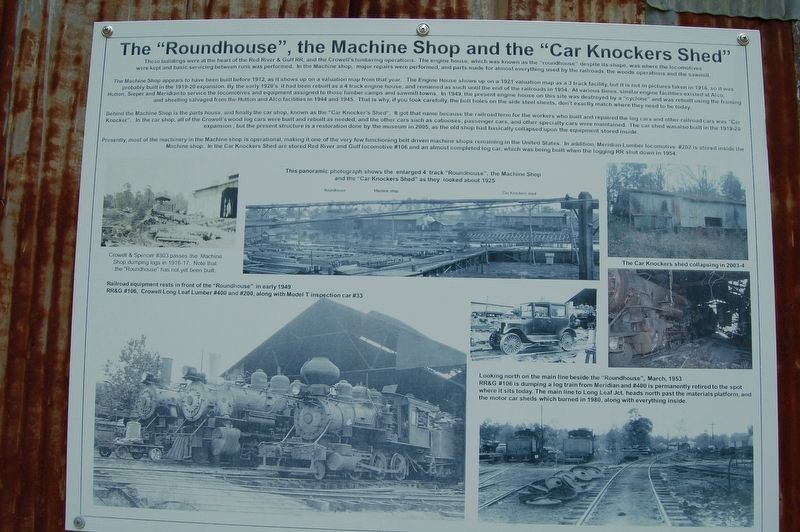 "The ""Roundhouse"", The Machine Shop and the ""Car Knockers"" Marker image. Click for full size."