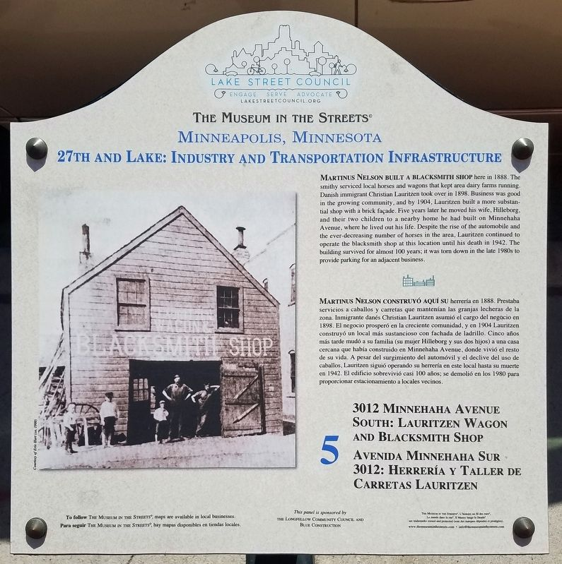 3012 Minnehaha Avenue South: Lauritzen Wagon and Blacksmith Shop marker image. Click for full size.