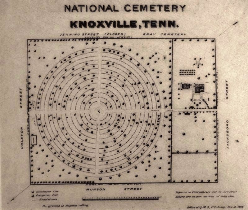 Marker detail: Knoxville National Cemetery Plan, 1892 image. Click for full size.