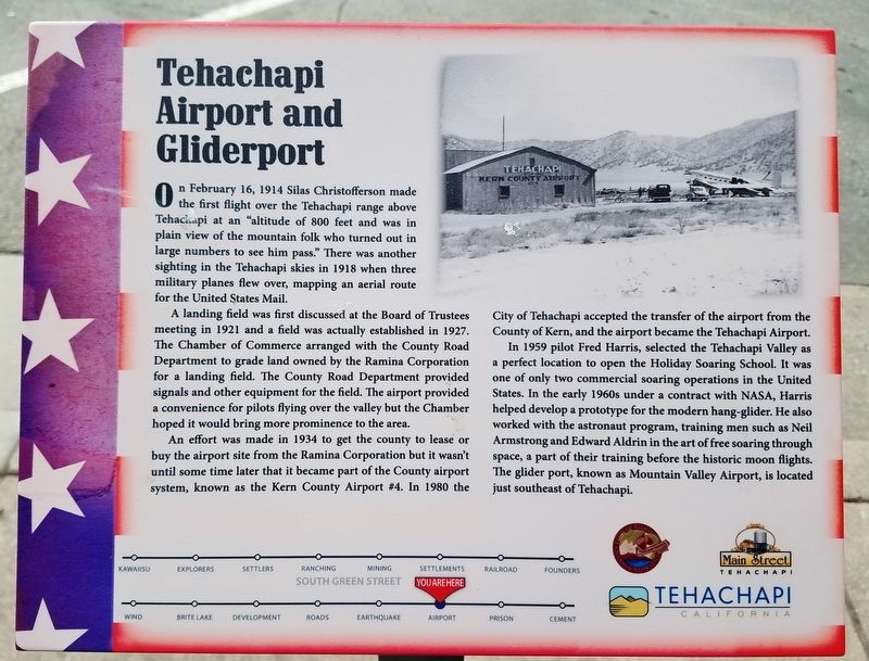 Tehachapi Airport and Gliderport Marker image. Click for full size.