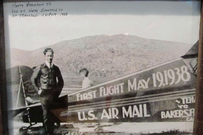 Harry Beauford Jr., son of Harry Beauford Sr. at Tehachapi Airport 1938 image. Click for full size.