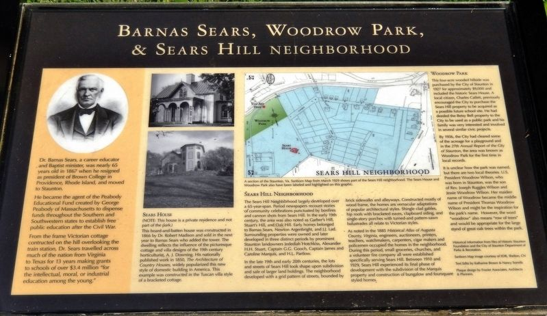 Barnas Sears, Woodrow Park, & Sears Hill Neighborhood Marker image. Click for full size.