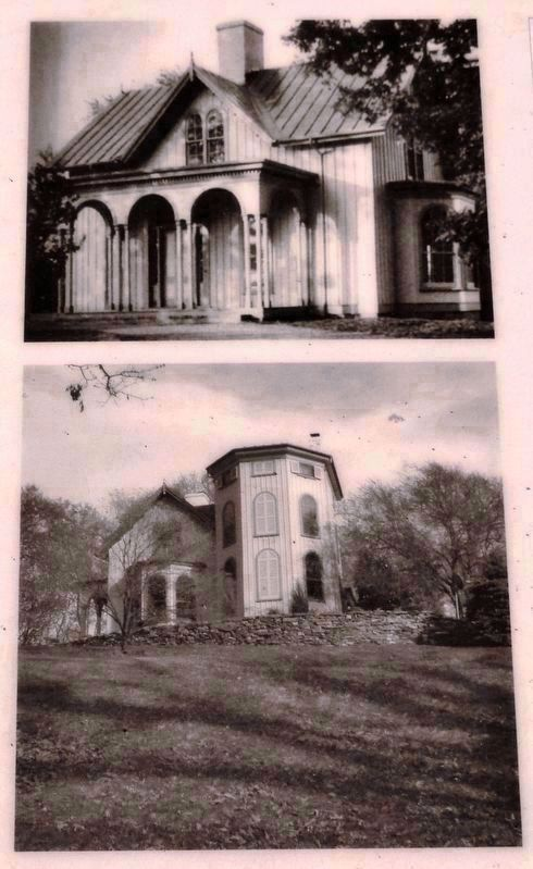 Marker detail: Sears House<br>located on Sears Hill<br>high above the marker image. Click for full size.