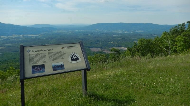 Appalachian Trail Marker (<i>wide view looking south • Appalachian Trail passes behind marker</i>) image, Touch for more information