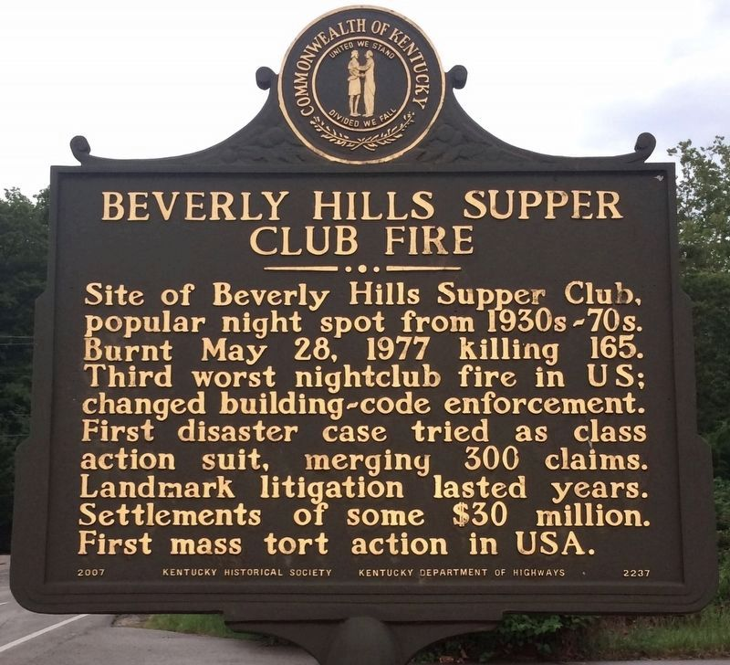 Beverly Hills Supper Club Fire Marker image. Click for full size.