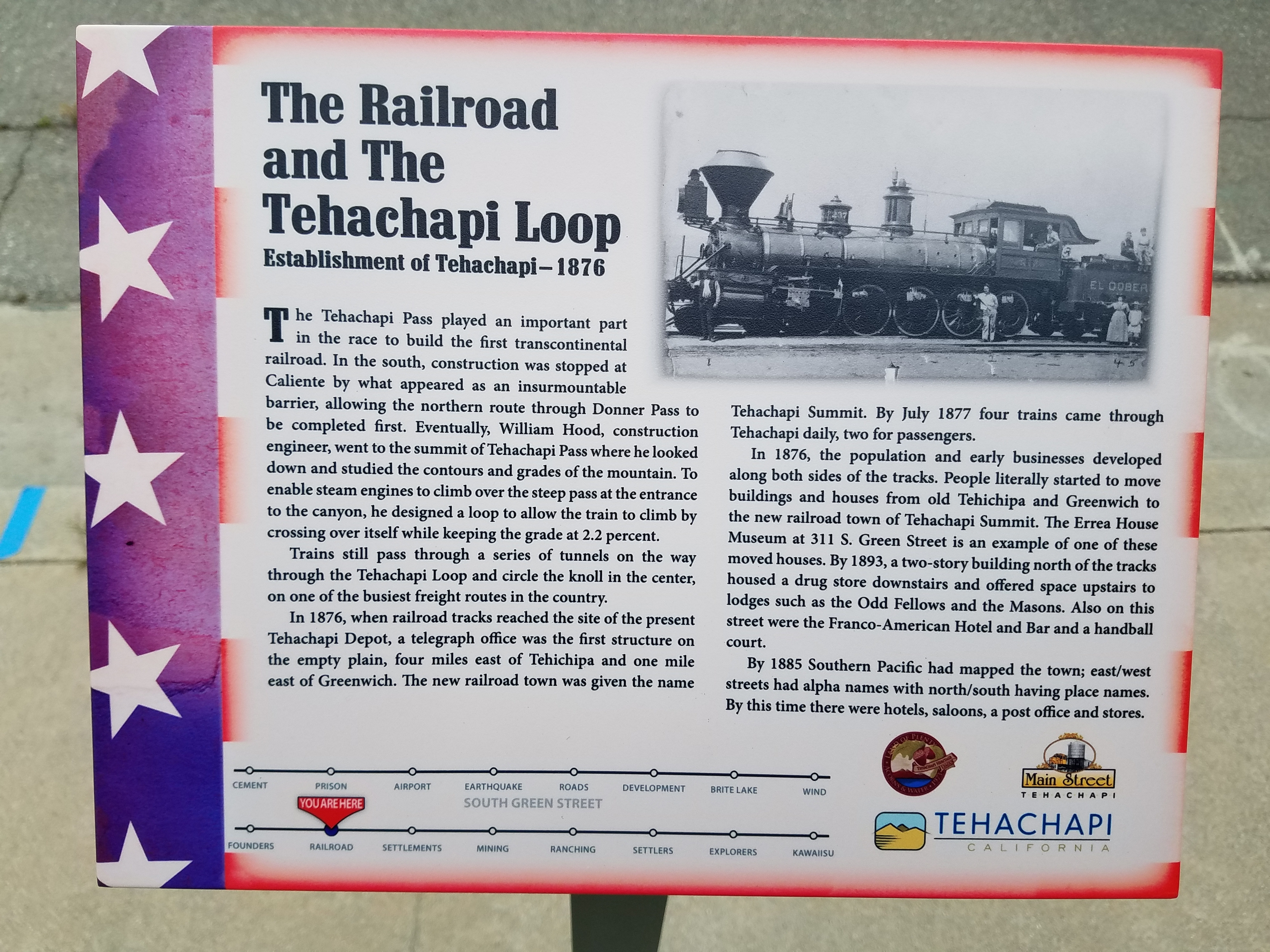 The Railroad and the Tehachapi Loop Marker