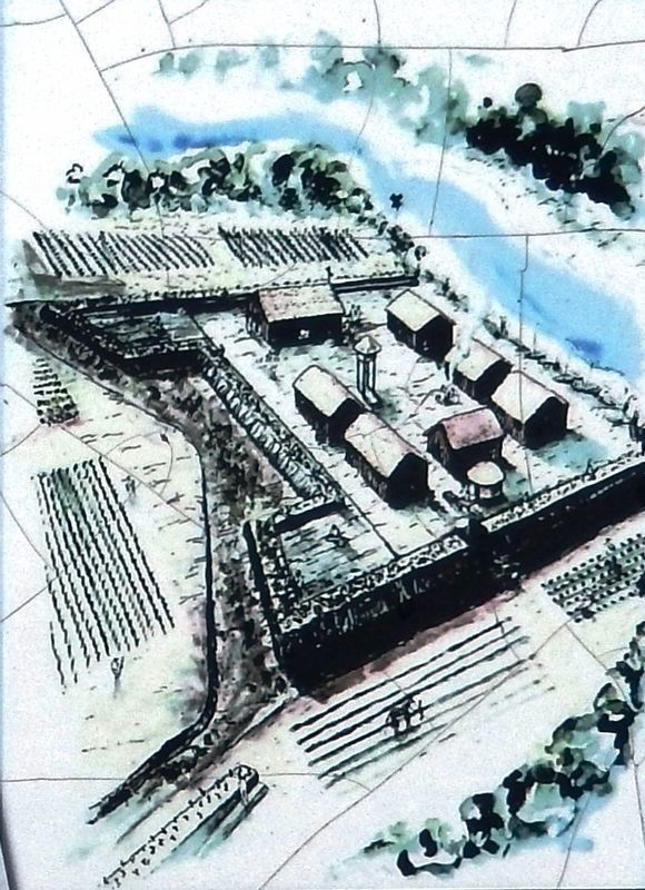 Marker detail: Artist's rendition of Fort Mose image. Click for full size.