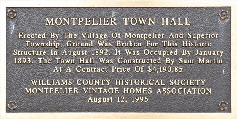 Montpelier Town Hall Marker image. Click for full size.