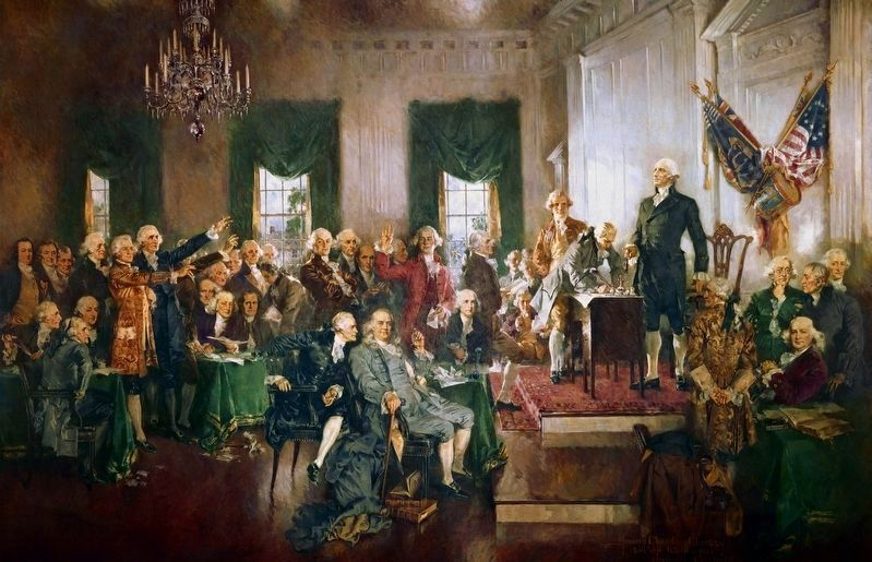 <i>Scene of the Signing of the Constitution of the United States</i>, Howard Chandler Christy image. Click for full size.