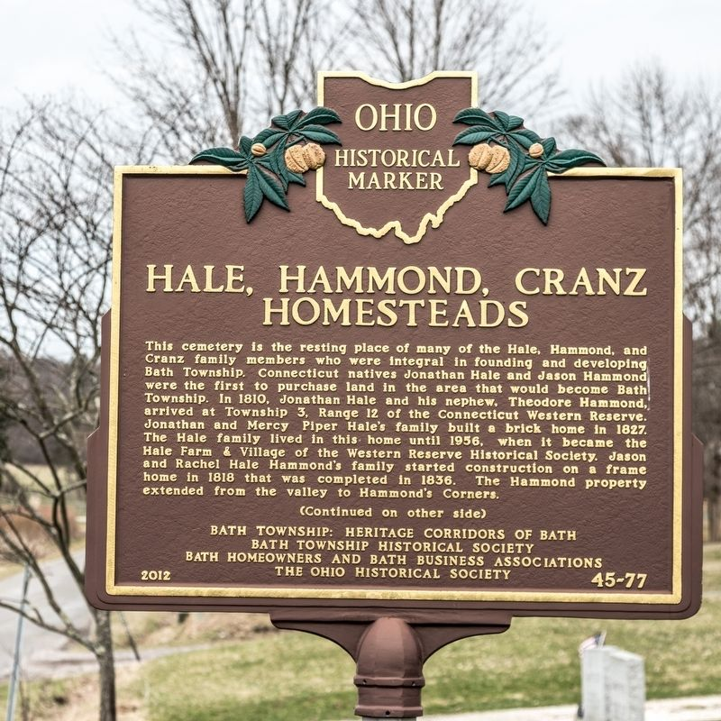 Hale, Hammond, Cranz Homesteads Marker, side one image. Click for full size.