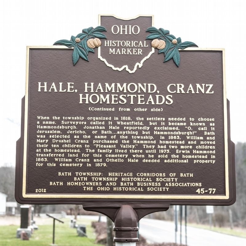 Hale, Hammond, Cranz Homesteads Marker, side two image. Click for full size.