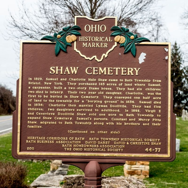 Shaw Cemetery Marker, side one image. Click for full size.