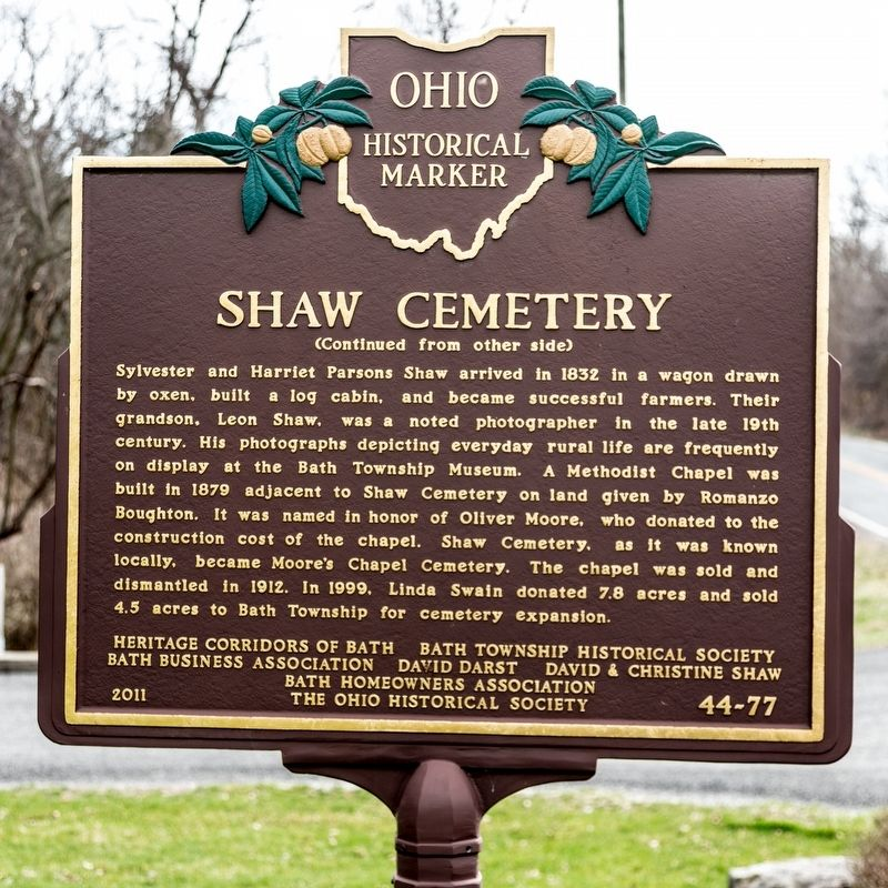 Shaw Cemetery Marker, side two image. Click for full size.