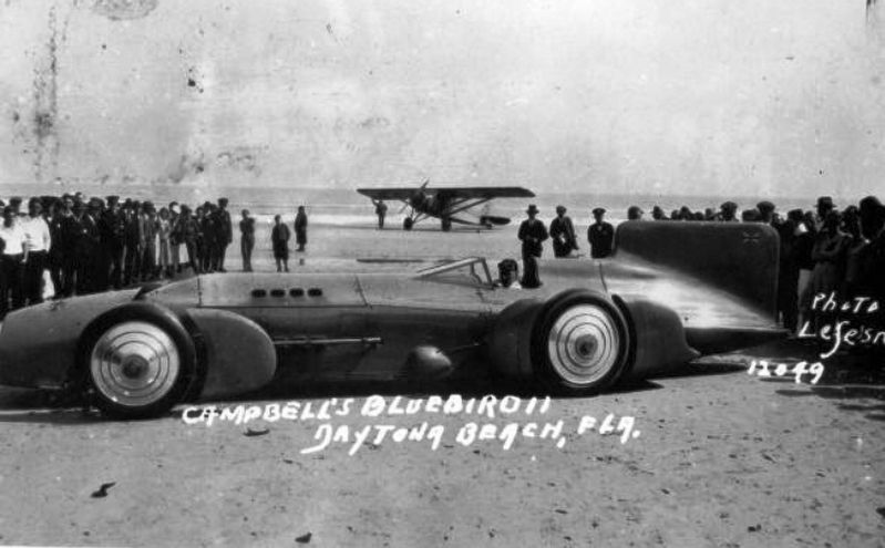 Malcolm Campell's 1931 Speed record car Blue Bird at Daytona beach image. Click for full size.