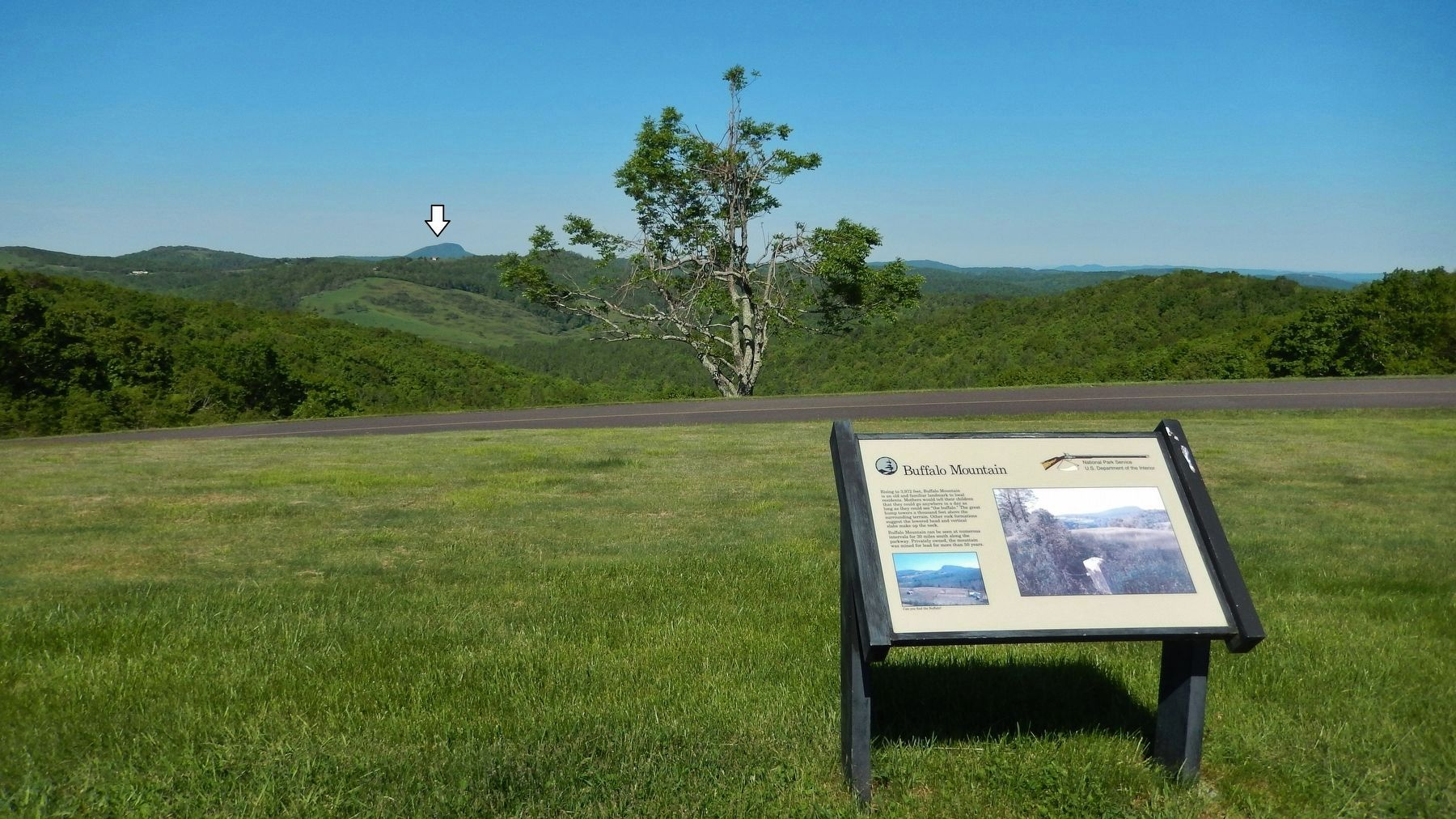 Buffalo Mountain Marker (<i>wide view • Blue Ridge Parkway & Buffalo Mountain in background</i>) image. Click for full size.