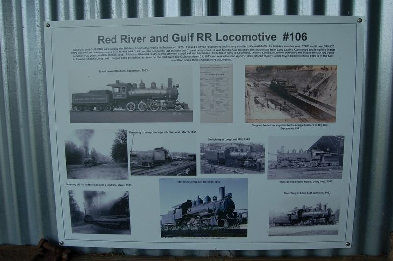 Red River and Gulf RR Locomotive #106 Marker image. Click for full size.