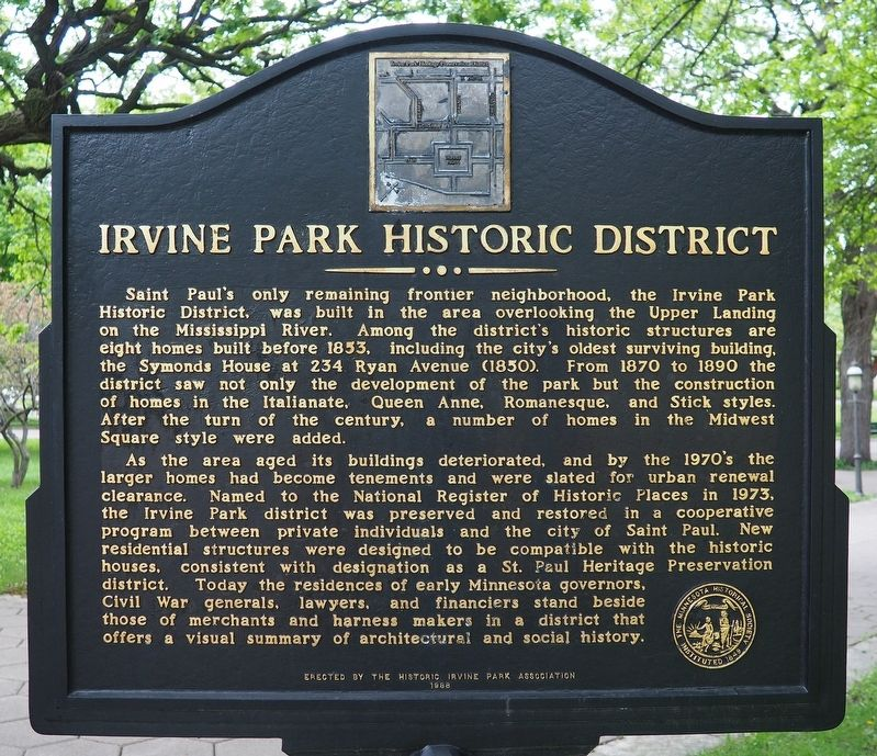 Irvine Park Historic District marker (reverse) image. Click for full size.