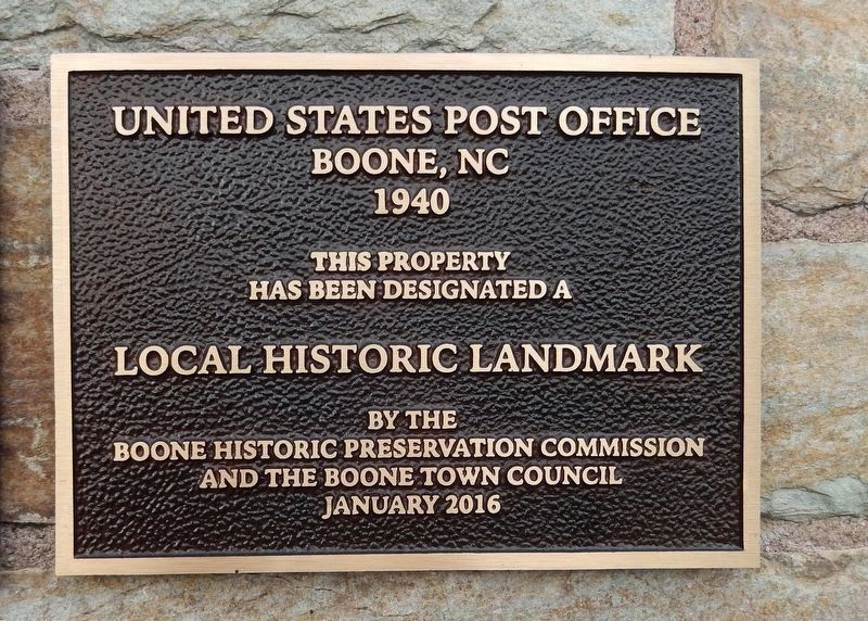 Boone Local Historic Landmark plaque<br>(<i>located to right of marker</i>) image. Click for full size.