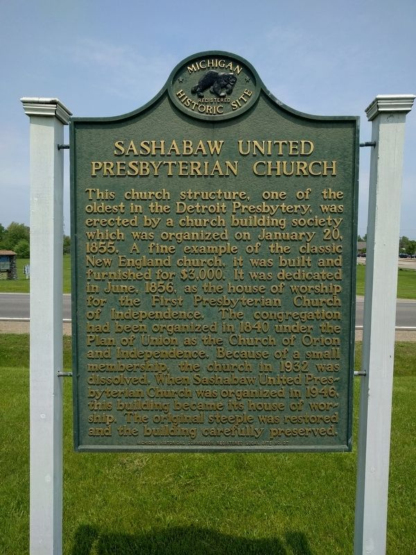 Sashabaw United Presbyterian Church Marker image. Click for full size.