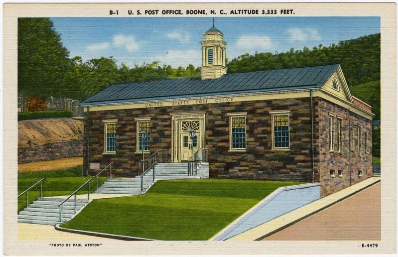 <i>U.S. Post Office, Boone, N.C. Altitude 3,333 Feet</i> image. Click for full size.